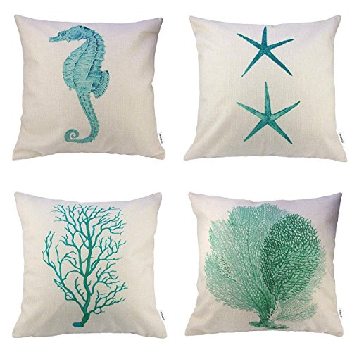 HIPPIH 4 Packs Pillow Cover - Cotton Linen Sofa Home Decor Design Throw Pillow Case Cushion Covers 18 X 18 Inch,Starfish + Seahorse + Coral + Branch (Design Pillow Cover)