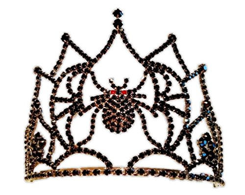 Stunning Black Rhinestone Crystal Spider Tiara Crown Halloween Costume Accessory