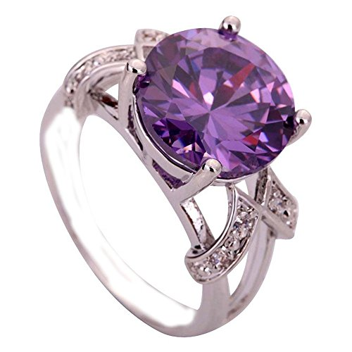 Empsoul 925 Sterling Silver Natural Novelty Plated 6.5ct Amethyst Topaz Wedding Ring