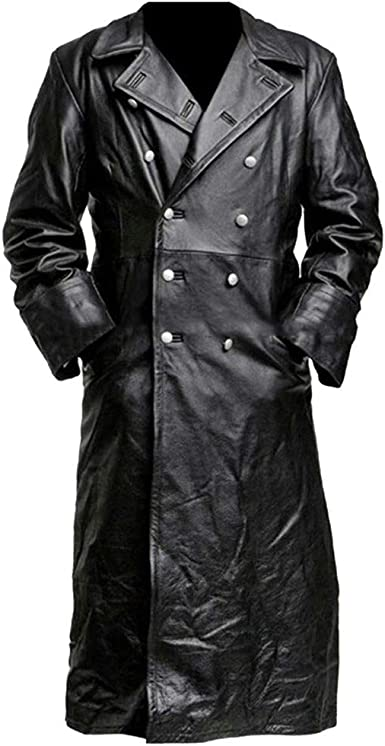 Mens Long Leather Coat Full Length Black Leather Trench Overcoat Mens Casual Fit Outdoor Stand Collar Motorcycle Long Leather Coat