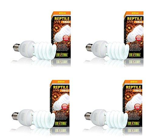 Exo Terra Repti-Glo 10.0 Compact Fluorescent Desert Terrarium Lamp, 26-Watt (4 Pack)