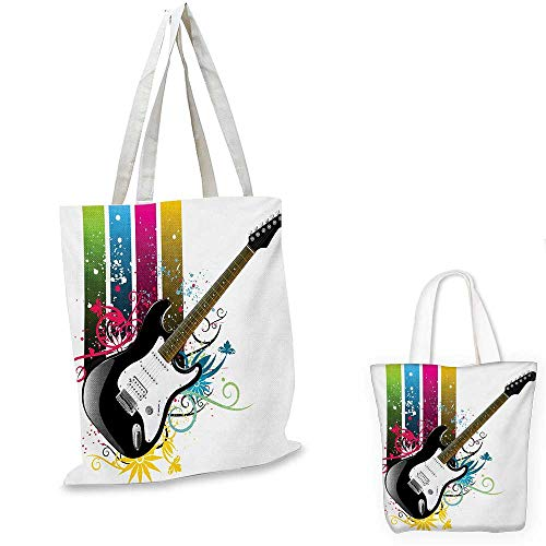 Guitar shopping bag storage pouch Bass Guitar on Colorful Vertical Stripes with Floral Natural Artistic Ornaments small tote shopping bag Multicolor. 12