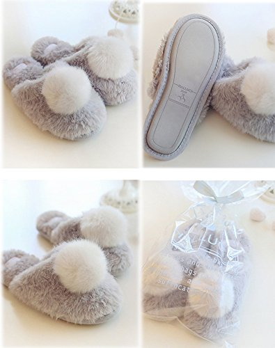 Chaud Gris Slippers Peluche Ours E Hiver Chaussons House Pantoufles Mignon Anti dérapant Femmes Shoes rOOqwnCYg