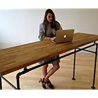 Standing Desk - Black Steel Pipe and Wooden Butcher Block