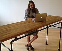Standing Desk - Black Steel Pipe and Woo...