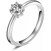 Niome Classic Engagement Claw Ring White Sapphire 10K White Gold