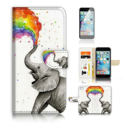 ( For iPhone 6 Plus / iPhone 6S Plus ) Flip Wallet Case Cover and Screen Protector Bundle A3957 Elephant Rainbow