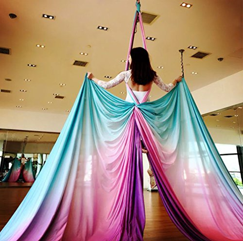 DASKING Premium Aerial Silks Equipment Gradient Color Mixed Aerial Silks - Safe Deluxe Aerial Kit