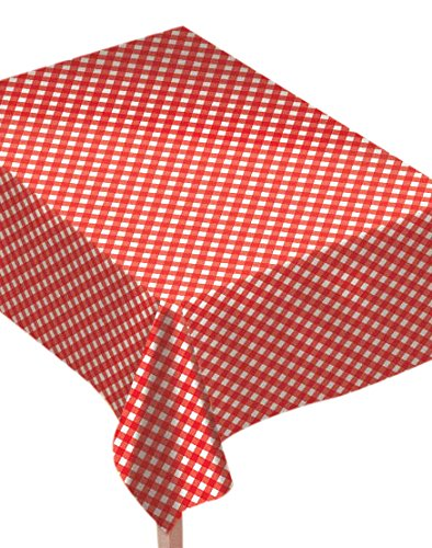 Amscan Reusable Classic Picnic Red Gingham Flannel-Backed Rectangular Table Cover Party Tableware, Vinyl, 54'' x 90'' Supplies (6 Piece)