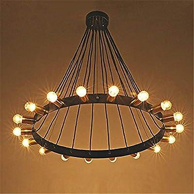 "Ruanpu Adjustable Splendid Industrial 32.3"" Loft Flush Mount Ceiling Light in Bare Edison Bulb Wrought Iron Style, Vintage Chandelier with 18 Lights"