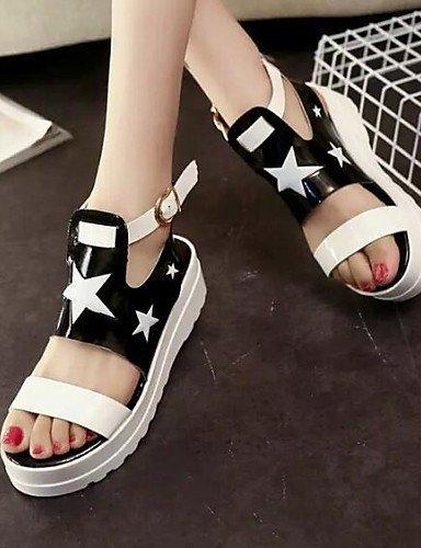 ShangYi Women's Shoes Stars Patchwork Leatherette Platform Peep Toe / Novelty Sandals Outdoor / Casual Black / White White DTHnCHK73e