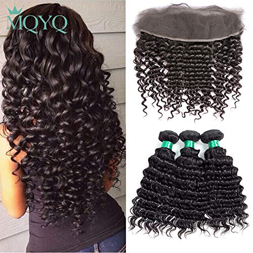 MQYQ Deep Wave 3 Bundles with Lace Frontal Closure 13x4 Ear to Ear Lace Front Closure Brazilian Virgin Hair Deep Curly Unprocessed Human Hair Weave Natural Color (20+22 24 26)