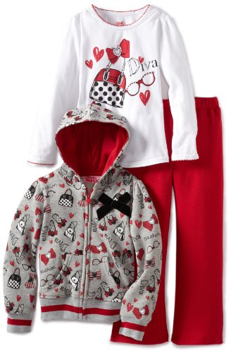 Young Hearts Little Girls' 3 Piece Diva Fleece Pant Set