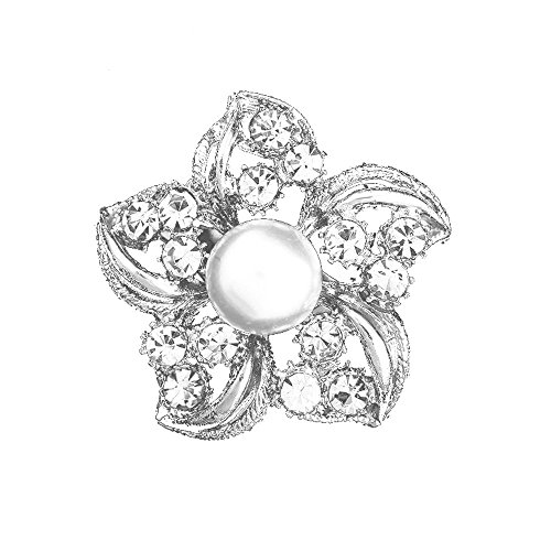 nice Popular Metal and Rhinestone Brooch Simple Style Brooch With Imitation Pearl 2Pcs a Set-Silver supplies