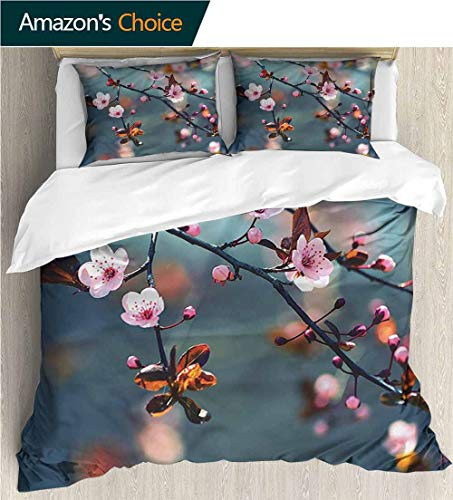 (carmaxs-home Style 3D Digital Print Bedding Sets,Box Stitched,Soft,Breathable,Hypoallergenic,Fade Resistant 100% Cotton Beding Linens for Kids Children-Nature Blooming Sakura Flowers (104