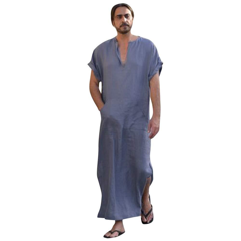 JESPER Mens Solid Ethnic Robes Loose Striped Short Sleeve Thin Vintage Dress Kaftan Gray