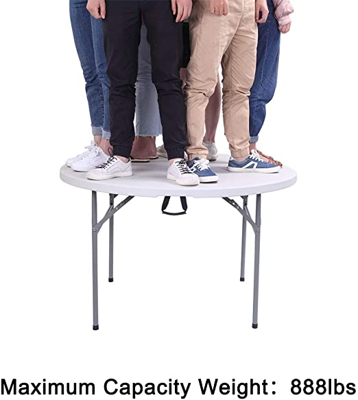 White 32 Inches Knocbel Round Folding Table Heavy Duty with 1.75 Thick Waterproof Stain-Resistant HDPE Top /& Metal Legs for Patio Garden Lawn Picnic Party Dining Camping