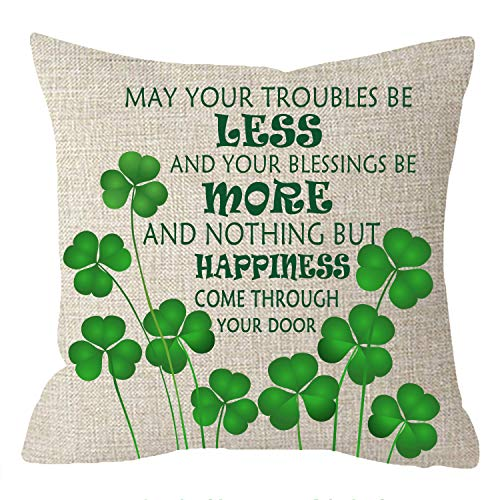 NIDITW Nice Sister Gift Happy St Patricks Day Lucky Shamrocks with Irish Blessings Beige Cotton Burlap Linen Pillow Case Pillowcase Chair Decorative Square 18x18 Inches (Irish Blessings)