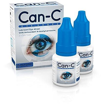 Can-C (NAC) Eye Drops, Lubricant eyedrops with antioxidant n-acetylcarnosine. 2 Vials of 5 ml