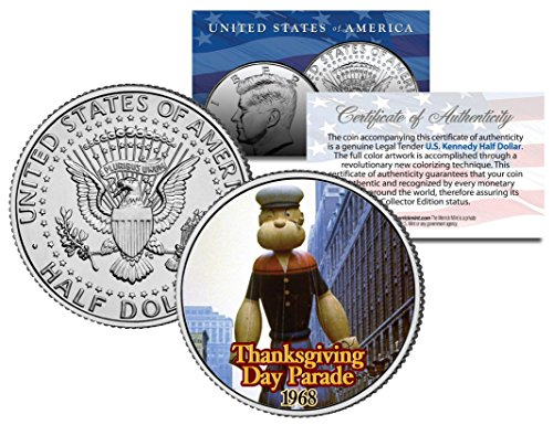 POPEYE BALLOON 1968 THANKSGIVING PARADE Colorized Kennedy Half Dollar -