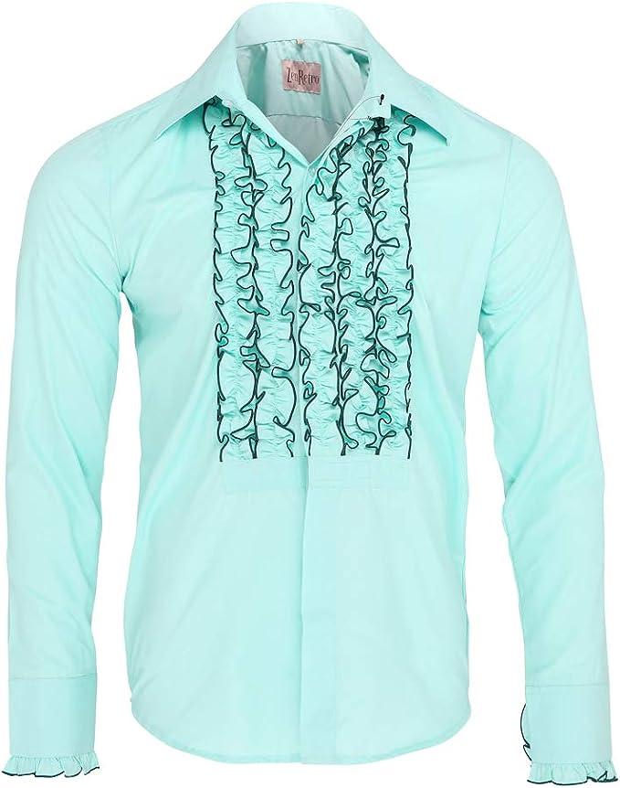 ZenRetro Hombre Verde Camisa de Esmoquin de Gala con Volantes M: Amazon.es: Ropa y accesorios
