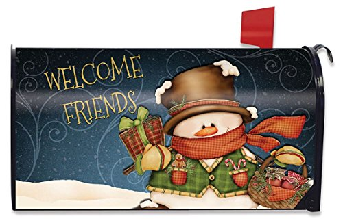 (Briarwood Lane Welcome Friends Snowman Christmas Mailbox Cover Primitive Presents Standard)