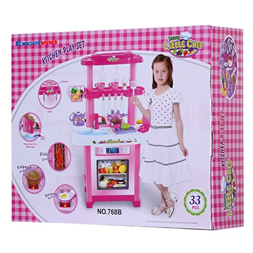 Kitchen Set With Light And Sound: Excelvan Portable Children Xmas Gift Double-Sided