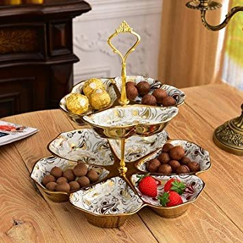 Sykdybz Creative Double Layered European Style Fruit Plate Living Room, Home Ceramic Cake Plate, Afternoon Refreshment, Heart Not Faded,B