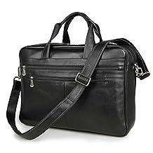Men Cow Leather 17IN Laptop Handbag Briefcase Messenger Bag Shoulder Bag, Black