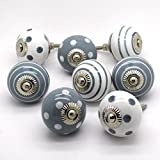 Lot de 8traditionnel en céramique Gris en porcelaine Chine Placard Porte Tiroir Armoire Tire boutons