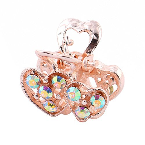 DealMux Hair Faux Rhinestone Inlaid Double Heart Shape Claw Clamps Jaw Clip Barrette Multicolor