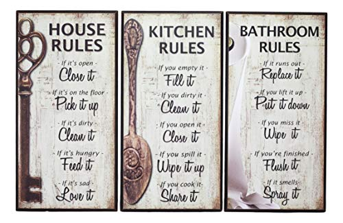 Ebros 7-Inch-by-14-Inch Rustic Country Wood Our Family Rules Wall Art Wooden Sign Decor for Kitchen House and Bathroom Walls Vintage Hanging Plaque Reminder Signs Set of ()