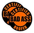 (2) Bad Ass Roofer Hard Hat Stickers | Durable Vinyl Helmet Decals | Labels Toolbox Framing Framer Asphalt Shingle Metal Gutters Installer Roofing
