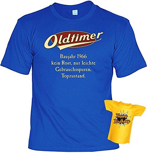 Modisches Herren Fun-T-Shirt als ideale Geschenkeidee im Set zum 50. Geburtstag + Mini Tshirt Jahrgang 1967 Farbe: royal-blau