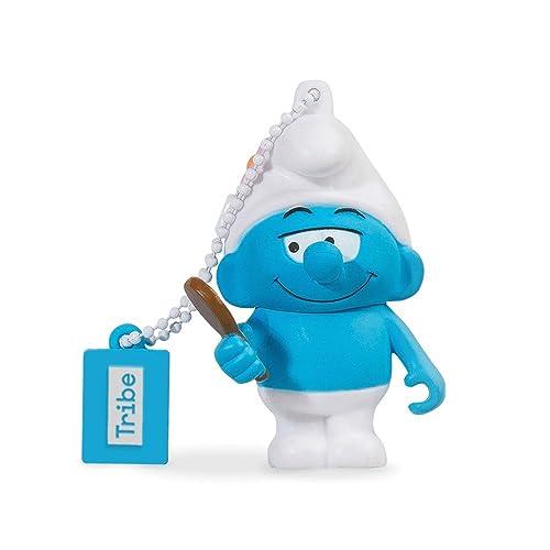Tribe Die Schlümpfe Beauty Schlumpf USB Stick 8 GB Speicherstick 2.0 High Speed Pendrive Memory Stick Flash Drive, Lustige Geschenke 3D Figur, USB Gadget aus Hart-PVC mit Schlüsselanhänger – Blau