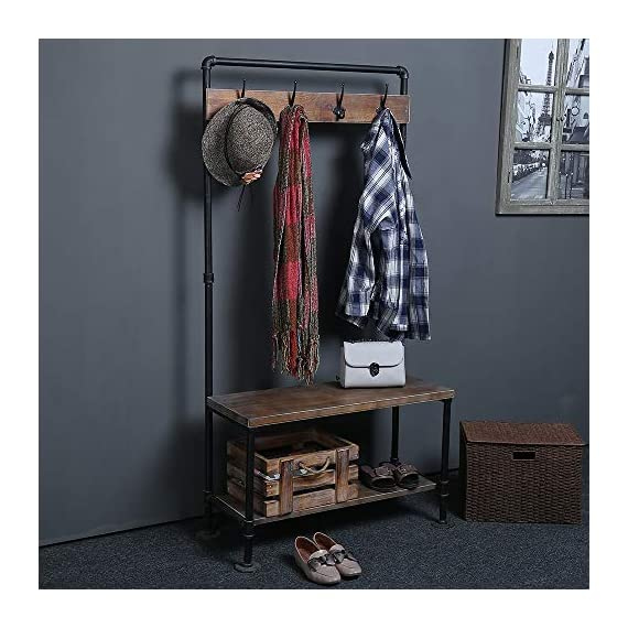 WGX Design For You Industrial Coat Rack Shoe Bench, Hall Tree Entryway Storage Shelf, Solid Wood with Pipe Frame - 【Retro Style】:Industrial style solid wood and pipe 【Multi-functional】:Beautiful and practical .You can use it wherever you want. 【Size】:Total height:63in*31.5in*12.5in - hall-trees, entryway-furniture-decor, entryway-laundry-room - 51QvhdRGdpL. SS570  -
