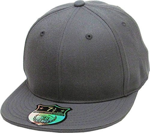 KBETHOS KNW-2364 DGY (7 3/4) The Real Original Fitted Flat-Bill Hats True-Fit, 9 Sizes & 20 Colors Dark Gray