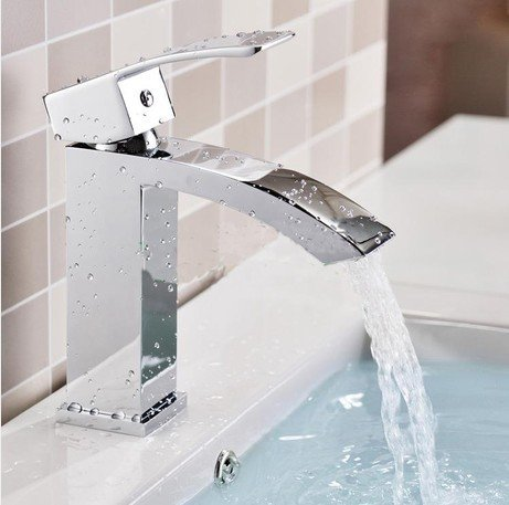 Lpophy Bathroom Sink Mixer Taps Faucet Bath Waterfall Cold and Hot Water Tap for Washroom Bathroom and Kitchen Hot and Cold Copper Waterfall