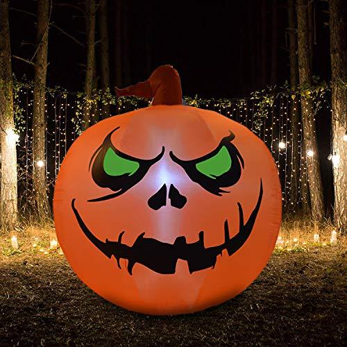 Virtuapod 4 Foot Halloween Inflatable Air Blown Pumpkin Lighted Home Yard Garden Indoor Outdoor Decoration