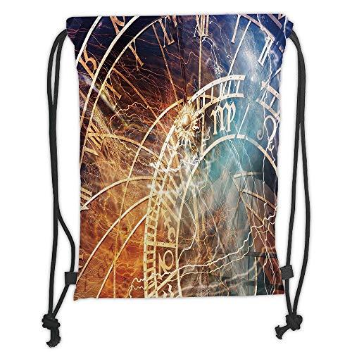 New Fashion Gym Drawstring Backpacks Bags,Astrology,Travel Decor Ancient Old Town Prague Horoscope Clock Czech Republic Art Print Decorative,Multicolor Soft Satin,Adjustable -