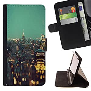 Jordan Colourful Shop - city lights New york night buildings For Samsung Galaxy A3 - Leather Case Absorci???¡¯???€????€????????