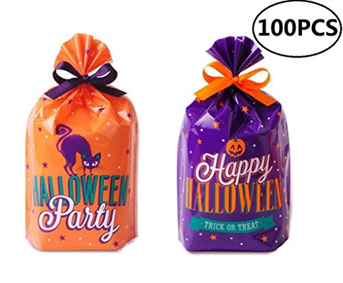 EBTOYS 100pcs Halloween Cellophane Bags with Twist Ties Halloween Party Supplies Treat Favor Bags - Perfect Halloween Treat Bags - Treat Sacks]()
