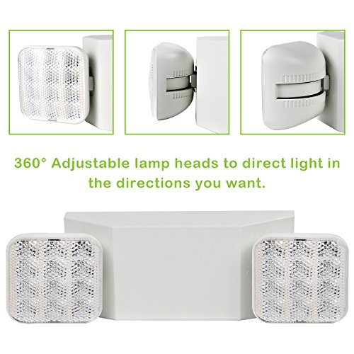 Hykolity Two Head LED Adjustable Wall-Mount White Emergency Light Fixture with Battery Back-up - 4 Pack by hykolity (Image #1)