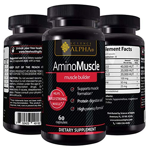 Premium Amino Muscle by Alpha Science - Muscle Builder & Testosterone Booster with Powerful Amino Acids (BCAAs & EAAs) - Ideal for Weight Loss, Bodybuilding, Weight Lifting - 60 Vegetarian Capsules