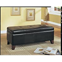 ACME Teton Espresso Faux Leather Bench with Storage