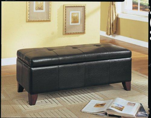 ACME Teton Espresso Faux Leather Bench with Storage