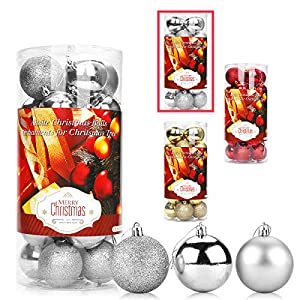 Aitsite 24PCS Palle di Natale Palle per Albero di Natale Bauble 6 CM Porta Applique Ornamenti Decorazioni Albero Palle Decorative Festa per Matrimoni Forniture 6 spesavip