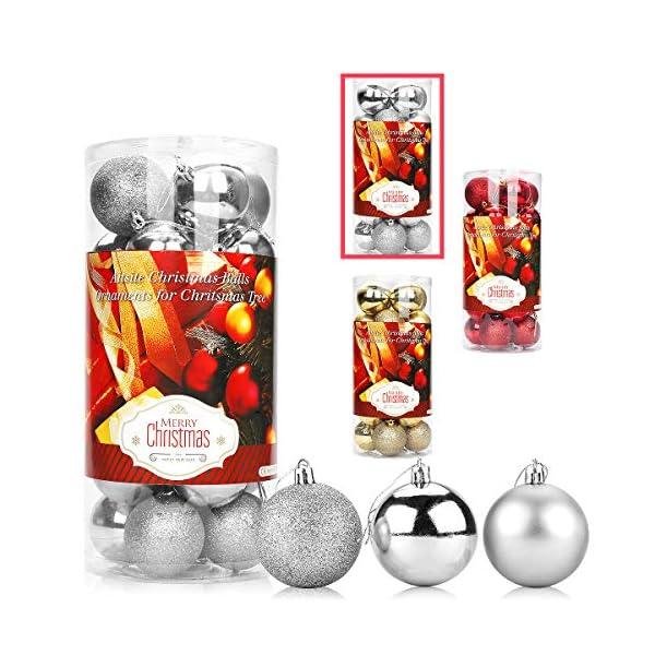 Aitsite 24PCS Palle di Natale Palle per Albero di Natale Bauble 6 CM Porta Applique Ornamenti Decorazioni Albero Palle Decorative Festa per Matrimoni Forniture 1 spesavip