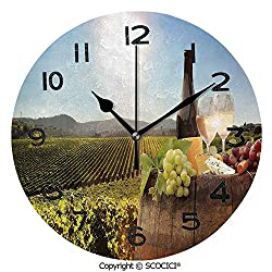SCOCICI 10 Inch Round Face Silent Wall Clock White Wine with Barrel On Famous Vineyard in Chianti Tuscany Agriculture Decorative Unique Contemporary Home and Office Decor
