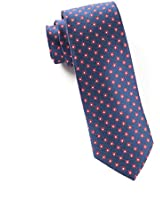 Anemones 100% Woven Silk Navy and Red Skinny Tie